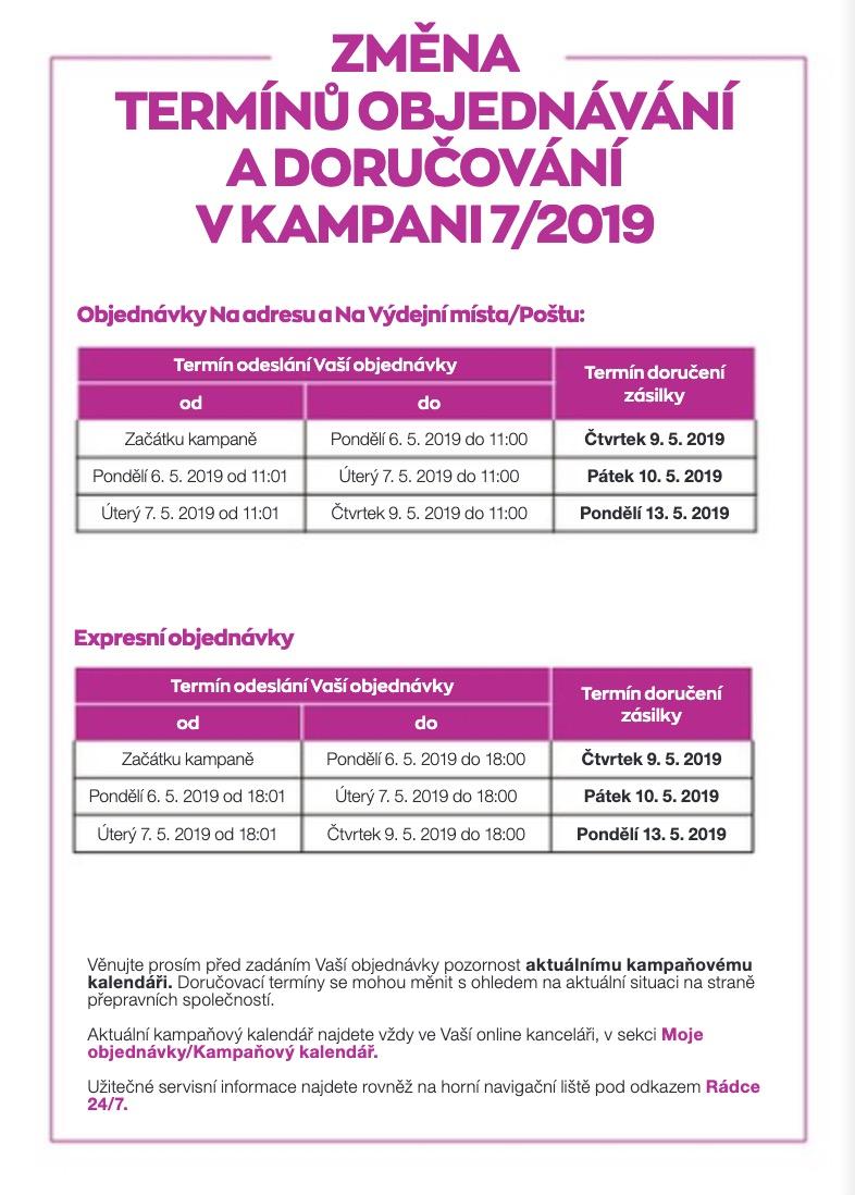 Změna termínů objednávání a doručování v K7/2019